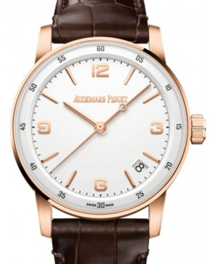 Audemars Piguet Code 11.59 Selfwinding Rose Gold/Sapphire 41mm White Dial Leather Strap 15210OR.OO.A099CR.01 - Brand New