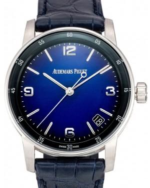 Audemars Piguet Code 11.59 Selfwinding Bolshoi White Gold/Sapphire 41mm Blue Dial Leather Strap 15210BC.OO.A321CR.99 - Brand New