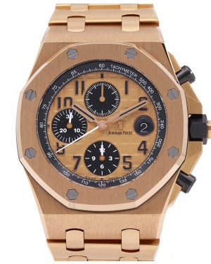 """Audemars Piguet Royal Oak Offshore """"Brick"""" Champagne 42mm Rose Gold 26470OR.OO.1000OR.01 - PRE-OWNED"""