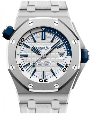 Audemars Piguet Royal Oak Offshore Diver Stainless Steel 42mm White Dial Rubber Strap 15710ST.OO.A010CA.01 - BRAND NEW
