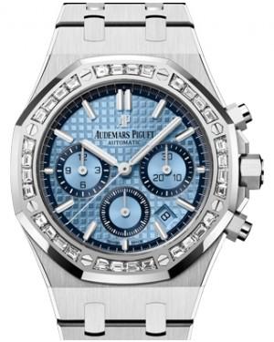 Audemars Piguet Royal Oak Selfwinding Chronograph White Gold Blue Index Dial Diamond Bezel 38mm Gold Bracelet 26318BC.ZZ.1256BC.01 - BRAND NEW