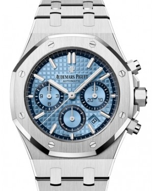 Audemars Piguet Royal Oak Selfwinding Chronograph White Gold Blue Index Dial 38mm Gold Bracelet 26317BC.OO.1256BC.01 - BRAND NEW