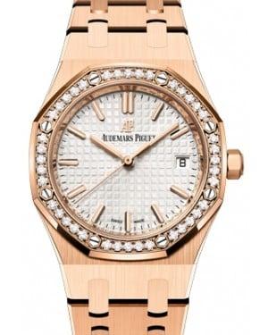 Audemars Piguet Royal Oak Selfwinding Rose Gold Silver 34mm Dial & Diamond Bezel Automatic 77351OR.ZZ.1261OR.01 - BRAND NEW