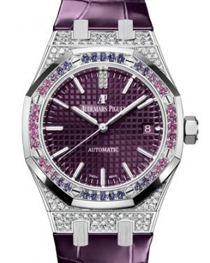Audemars Piguet Royal Oak Selfwinding White Gold Purple Index Dial Diamond Bezel 37mm Leather Strap 15452BC.ZY.D600CR.01 - BRAND NEW