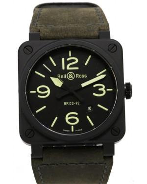 Bell & Ross Nightlum Matt Black Dial & Ceramic Bezel Leather Strap BR 03-92 PRE-OWNED