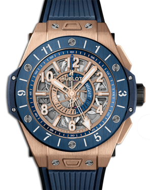 Big Bang Unico Gmt King Gold Blue Dial Ceramic Bezel Rose Gold Rubber Strap 45mm 471.OL.7128.RX - BRAND NEW