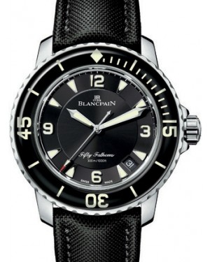Blancpain Fifty Fathoms Automatique Stainless Steel Black Dial Canvas Strap 5015 1130 52B - BRAND NEW