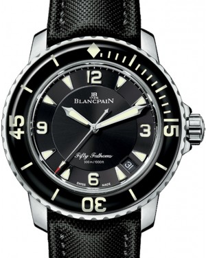 Blancpain Fifty Fathoms Automatique Titanium Black Dial Canvas Strap 45mm 5015-12B30-B52A - BRAND NEW
