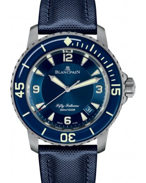 Blancpain Fifty Fathoms Automatique Titanium Blue Dial Canvas Strap 5015 12B40 O52A - BRAND NEW