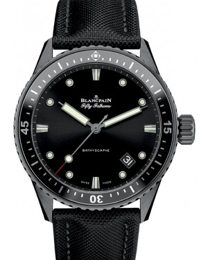 Blancpain Fifty Fathoms Bathyscaphe Black Ceramic Black Dial Canvas Strap 5000 0130 B52A - BRAND NEW
