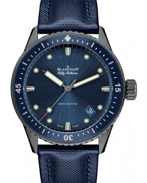 Blancpain Fifty Fathoms Bathyscaphe Grey Ceramic Blue Dial Canvas Strap 5000 0240 O52A - BRAND NEW