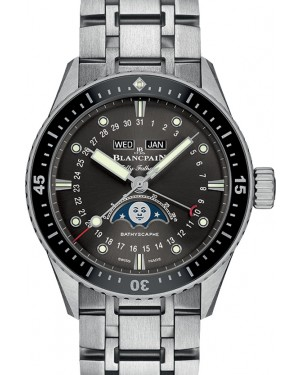 Blancpain Fifty Fathoms Bathyscaphe Moonphase Quantième Complet Phases de Lune Steel Grey Meteor Dial Steel Strap 5054 1110 70B - BRAND NEW