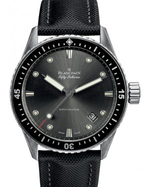 Blancpain Fifty Fathoms Bathyscaphe Steel Grey meteor Dial Canvas Strap 5000 1110 B52A - BRAND NEW
