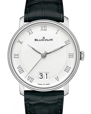 Blancpain Villeret Grande Date Steel White Dial Alligator Leather Strap 6669 1127 55B - BRAND NEW