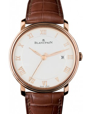 Blancpain Villeret Ultraplate Red Gold Opaline Dial Alligator Leather Strap 6651 3642 55B - BRAND NEW