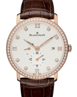 Blancpain Villeret Ultraplate Red Gold Opaline Diamond Dial & Bezel Alligator Leather Strap 6606 2987 55B - BRAND NEW