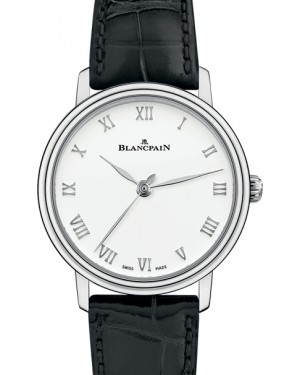 Blancpain Villeret Ultraplate Steel White Dial Leather Strap 6104 1127 55A - BRAND NEW