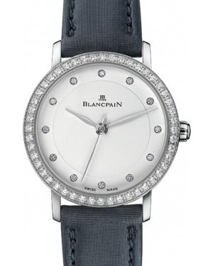 Blancpain Villeret Ultraplate Steel White Diamond Dial & Bezel Leather Strap 6102 4628 95A - BRAND NEW