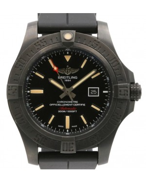 Breitling Avenger Blackbird Black PVD DLC Titanium Black Index Dial & Rotating Bezel Rubber Strap V1731010 - PRE-OWNED