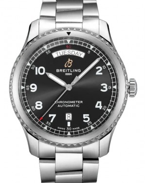 Breitling Aviator 8 Automatic Day & Date 41 Black Dial Stainless Steel Bezel & Bracelet A45330101.B1A1 - BRAND NEW