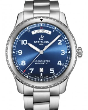 Breitling Aviator 8 Automatic Day & Date 41 Blue Dial Stainless Steel Bezel & Bracelet A45330101.C1A1 - BRAND NEW