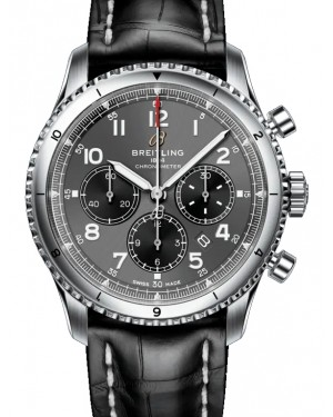 Breitling Aviator 8 B01 Chronograph 43 Anthracite Dial Stainless Steel Bezel Leather Strap AB0119131.B1P1 - BRAND NEW