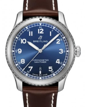 Breitling Navitimer 8 Automatic 41 Blue Dial Stainless Steel Bezel Leather Strap A17314101.C1X1 - BRAND NEW