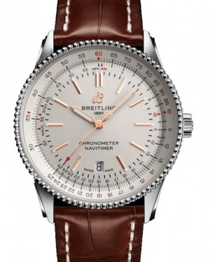 Breitling Navitimer Automatic 41 Silver Dial Stainless Steel Bezel Leather Strap A17326211.G1P1 - BRAND NEW