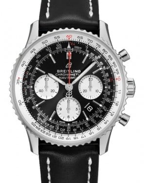 Breitling Navitimer B01 Chronograph 43 Black Dial Stainless Steel Bezel Leather Strap AB0121211.B1X1 - BRAND NEW