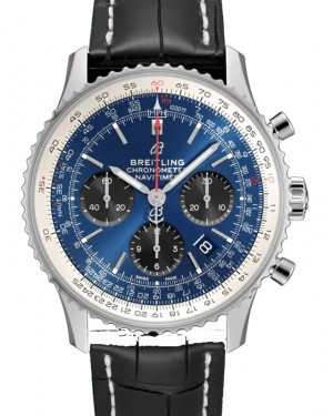 Breitling Navitimer B01 Chronograph 43 Blue Dial Stainless Steel Bezel Croco Strap AB0121211.C1P1 - BRAND NEW