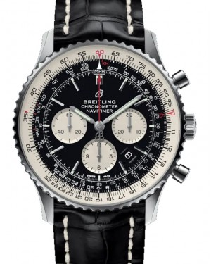 Breitling Navitimer B01 Chronograph 46 Black Dial Stainless Steel Bezel Leather Strap Deployment AB0127211.B1P1 - BRAND NEW