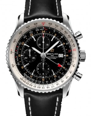 Breitling Navitimer Chronograph GMT 46 Black Dial Stainless Steel Bezel Leather Strap A24322121.B2X1 - BRAND NEW