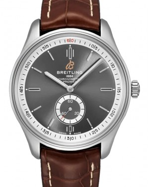 Breitling Premier Automatic 40 Anthracite Dial Stainless Steel Bezel Leather Strap A37340351.B1P1 - BRAND NEW