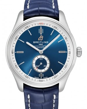 Breitling Premier Automatic 40 Blue Dial Stainless Steel Bezel Leather Bracelet A37340351.C1P1 - BRAND NEW