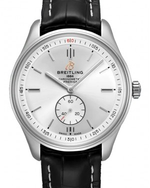 Breitling Premier Automatic 40 Silver Dial Stainless Steel Bezel Leather Bracelet A37340351.G1P1 - BRAND NEW