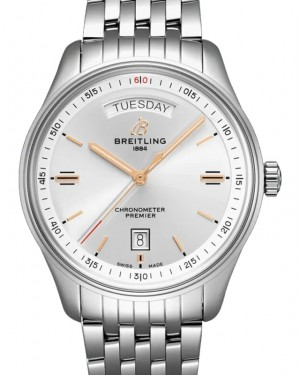 Breitling Premier Automatic Day & Date 40 Silver Dial Stainless Steel Bezel & Bracelet A45340211.G1A1 - BRAND NEW