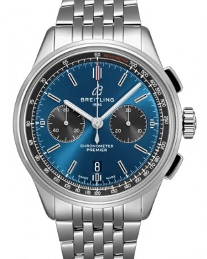 Breitling Premier B01 Chronograph 42 Blue Dial Stainless Steel Bezel & Bracelet AB0118A61.C1A1 - BRAND NEW