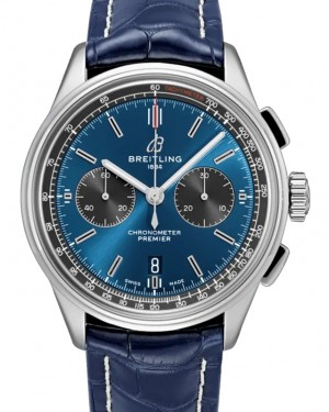 Breitling Premier B01 Chronograph 42 Blue Dial Stainless Steel Bezel Leather Bracelet AB0118A61.C1P1 - BRAND NEW