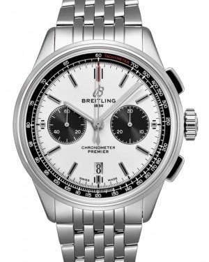 Breitling Premier B01 Chronograph 42 Silver Dial Stainless Steel Bezel & Bracelet AB0118221.G1A1 - BRAND NEW