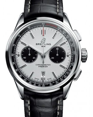 Breitling Premier B01 Chronograph 42 Silver Dial Stainless Steel Bezel Leather Bracelet AB0118221.G1P1 - BRAND NEW