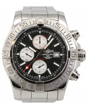 Breitling Super Avenger 2 A13371 XL 48mm Black Arabic Stainless Steel PRE-OWNED