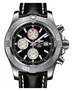 Breitling Super Avenger 2 Black Dial Stainless Steel Leather Strap 48mm A1337111.BC29 - BRAND NEW