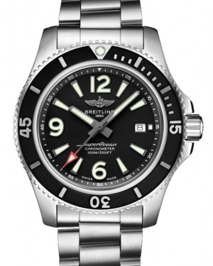 Breitling Superocean Automatic 44 Black Dial & Bezel Stainless Steel Bracelet 44mm A17367D71.B1A1 - BRAND NEW