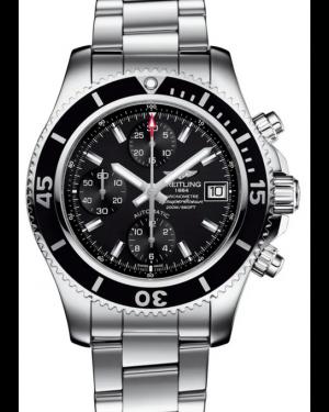 Breitling Superocean Chronograph 42 Black Dial Rubber Bezel Stainless Steel Bracelet A13311C9.BF98 - BRAND NEW