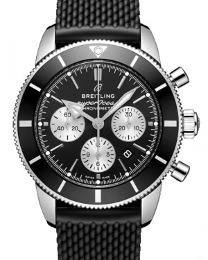 Breitling Superocean Heritage B01 Chronograph 44 Black Dial Stainless Steel Bezel Rubber Strap AB0162121.B1S1 - BRAND NEW