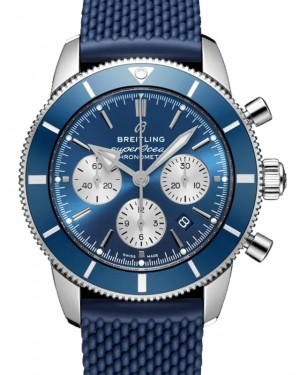 Breitling Superocean Heritage B01 Chronograph 44 Blue Dial Stainless Steel Bezel Rubber Strap AB0162161.C1S1 - BRAND NEW