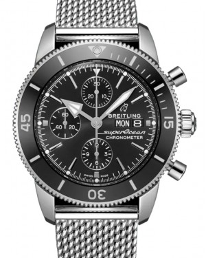 Breitling Superocean Heritage Chronograph 44 Black Dial Rubber Bezel Stainless Steel Bracelet A13313121.B1A1 - BRAND NEW
