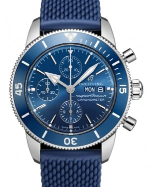 Breitling Superocean Heritage Chronograph 44 Blue Dial Stainless Steel Bezel Rubber Bracelet A13313161.C1S1 - BRAND NEW