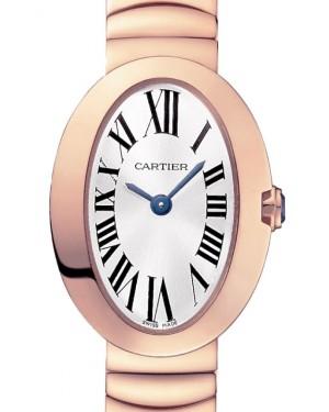 Cartier Baignoire Women's Watch Mini Quartz Rose Gold Silver Dial Rose Gold Bracelet W8000015 - BRAND NEW