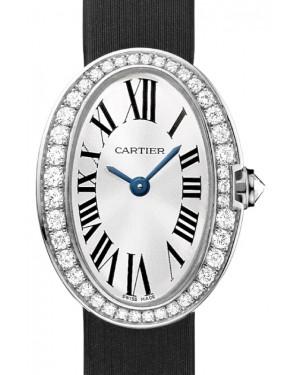 Cartier Baignoire Women's Watch Mini Quartz White Gold Diamonds Silver Dial Satin Strap WB520027 - BRAND NEW